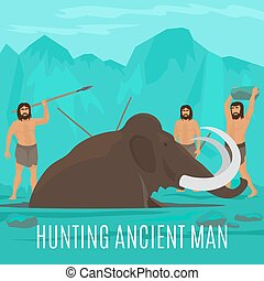 Mammoth hunting concept - Ancient prehistoric stone age...
