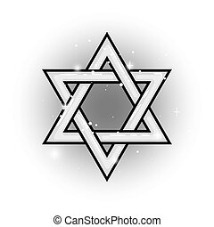 Grey Shield of David isolated vector star object on white...