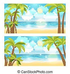 Summer time sea view banners set