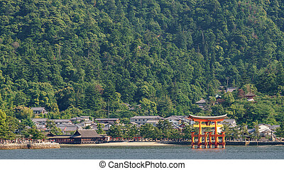 Miyajima island and Floating Torii gate in Japan.