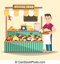 Showcase with man selling cheese products - Cheese shop or...