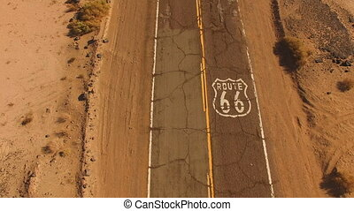 Route 66 Historic Two Lane Highway Southwest United States -...