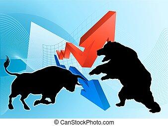 Bears Versus Bulls Stock Market Concept - A silhouette bear...