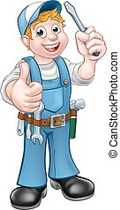 Electrician Handyman Cartoon Character
