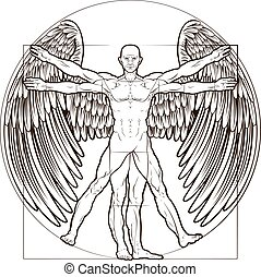 Vitruvian Man Angel - Vitruvian man angel figure like...