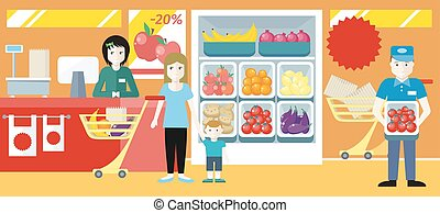 Shopping in Grocery Store Concept Illustration. - Shopping...