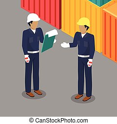 Cargo Worker and Foreman Talking in Warehouse.