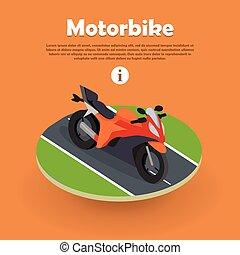 Motorbike on Part of Road. Motorcycle, Bike, Cycle -...