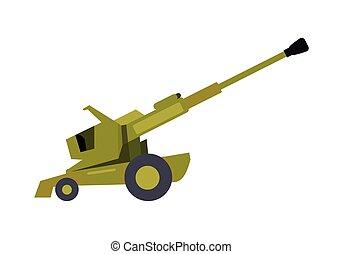 Howitzer Vector Illustration in Flat Design - Howitzer...
