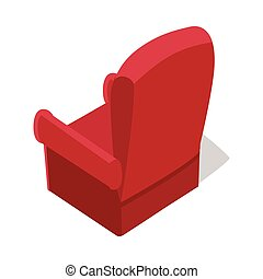 Isometric Home Armchair - Isometric red home armchair with...