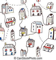 Funny houses in the town seamless pattern