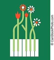 Conceptual piano background with flowers - vector graphic...