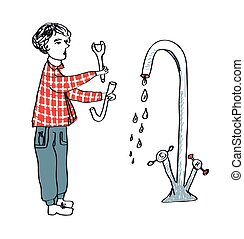 Plumber fixing the pipes - hand drawn cartoon sketch, vector...