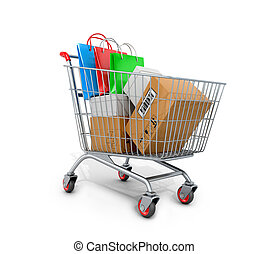 Shopping cart with boxes and bags on white background. 3D...