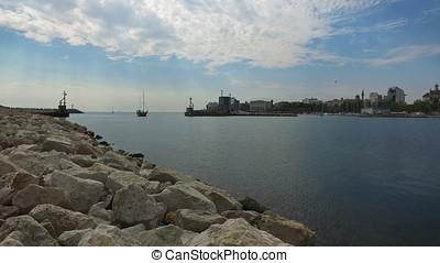 Ship entering the bay in Constanta, Romania