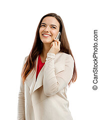Talking on the phone - Beautiful woman talking on the phone,...