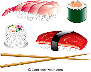 Japanese food - Illustration of different japanese food...