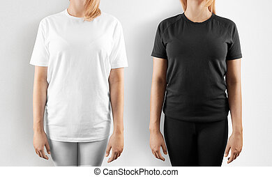 Blank black and white t-shirt design mockup, isolated