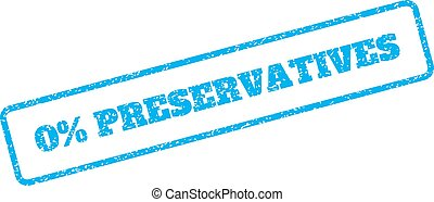 0 Percent Preservatives Rubber Stamp - Blue rubber seal...