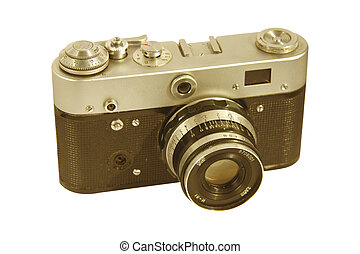 Old camera on white background. For you design