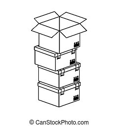 black silhouette contour boxes stacked and one opened