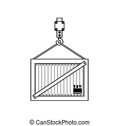 black silhouette contour hook crane holding a load container