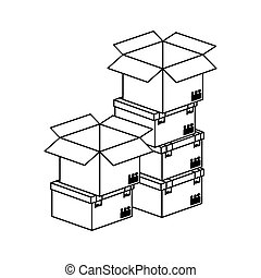black silhouette contour boxes stacked and some opened