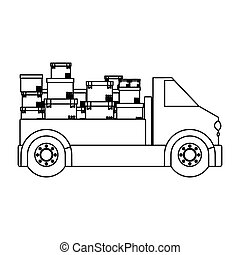 black silhouette contour transport truck with boxes