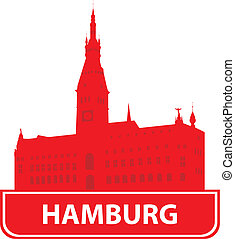 Hamburg skyline Vector ilustration for you design