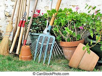 jardinería, herramientas, Macetas
