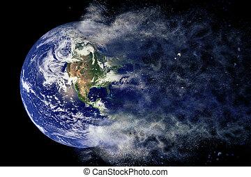 elementy, Wybuch, Dostarczony, to, wizerunek, -, planeta,...
