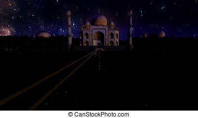 Taj Mahal at night, starry sky timelapse, seamless loop