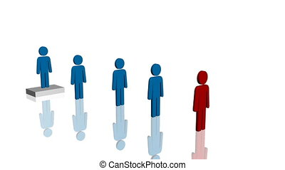 Line of blue people and one red - Line of blue male...