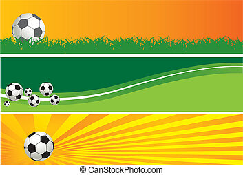 Football background. Three banners for you design