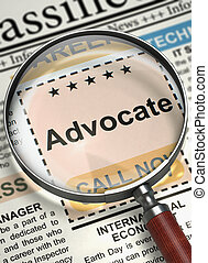 Now Hiring Advocate. 3D. - Magnifying Glass Over Newspaper...