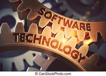 Software Technology on Golden Cog Gears. 3D Illustration. -...
