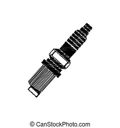 spark plug monochrome drawing striped vector illustration