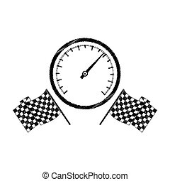 speedometer award in monochrome striped with racing flags