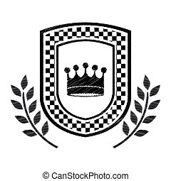 racing crown award in monochrome striped with olive branch
