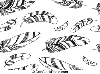 Seamless pattern with black feathers on a white background.