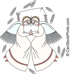 Cute scene with angels on the pillow. White background....