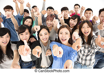 top view of happy young group hand pointing to camera