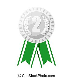 Silver medal for second place prize vector illustration.
