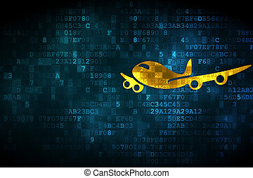 Vacation concept: Airplane on digital background - Vacation...