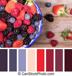 Summer fruit selection palette - Summer fruits in a ceramic...