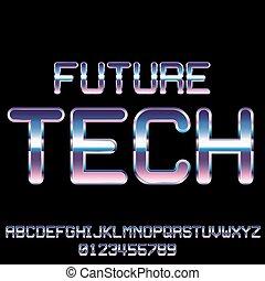 Sci-Fi retro font - Futuristic Metal Techno Look Vector Font...