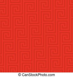 Classic meander seamless pattern. - Red Classic meander...
