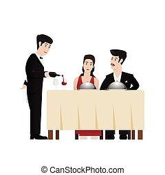 butler - Butler serving wine to guests, vector illustration