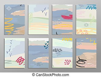 Set of abstract hand draw creative universal cards. Design...