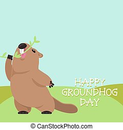 Groundhog Day - Postcard Vector Groundhog Day. Funny...